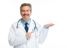 Doctor pharmacist presenting white background stock photo