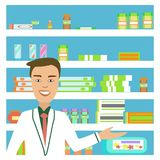 The doctor is in the pharmacy. Smiling salesman in white lab coat. Vector illustration Stock Photos