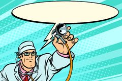 Doctor physician with stethoscope says comic cloud royalty free illustration