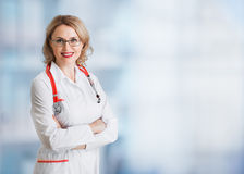Doctor or physician woman over abstract medical Stock Photography
