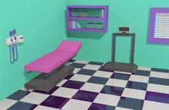 Doctor& x27 ; pièce d'examen de bureau de s avec l'équipement accessible Illustration Libre de Droits