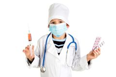 Despair treatment with modern medicine. Doctor with pills, mask, syringe. Stock Images