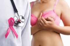 Doctor with pink badge and woman on bra stock photography