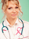 Doctor with pink cancer ribbon Stock Images