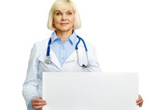 Doctor with placard Stock Image
