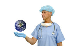 Doctor and planet Royalty Free Stock Images