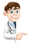 Doctor Pointing at Banner Royalty Free Stock Images