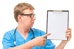 Doctor pointing at the empty space Stock Photo