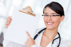 Doctor pointing at a prescription Royalty Free Stock Photo