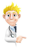 Doctor Pointing at Sign. An illustration of a friendly cartoon doctor peeking round pointing at a sign or banner Stock Photos