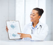 Doctor pointing to cardiogram Royalty Free Stock Photos