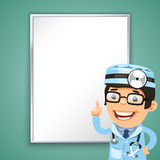 Doctor Points on the Board. In the EPS file, each element is grouped separately. Clipping paths included in additional jpg format royalty free illustration