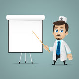 Doctor points on flipchart Royalty Free Stock Photo