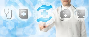Doctor points at healthcare medical icons. Healthcare Concept - Doctor points at health caring icon with other medical icons showing health data record and royalty free illustration