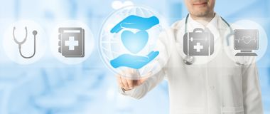 Doctor points at healthcare medical icons. Healthcare Concept - Doctor points at health caring icon with other medical icons showing health data record and vector illustration
