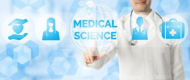 Doctor Points at MEDICAL SCIENCE with Medical Icon. Medical Research Concept - Doctor points at MEDICAL SCIENCE with icons showing symbol of technology, hospital royalty free illustration