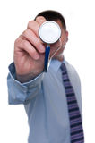 Doctor points stethoscope at camera Stock Images