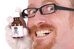 Doctor with poison bottle. On white background stock photography