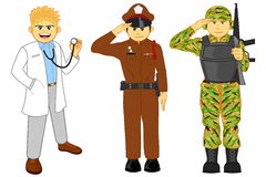 Doctor, police and military career Royalty Free Stock Photo