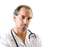 Doctor portrait. Doctor with stethoscope on white background Royalty Free Stock Photos