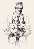Doctor portrait drawing Stock Photo