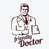 Doctor portrait retro emblem Stock Photos