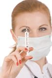 Doctor preparing vaccination injection. Doctor preparing vaccination injection isolate on white Stock Photography