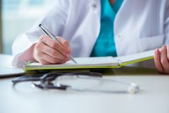 The doctor with prescribed medicines in medical concept Royalty Free Stock Photos