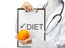 Doctor prescribing diet Stock Photos