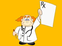 Doctor with prescription. On abstract background Royalty Free Stock Images