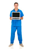 Doctor presenting laptop Stock Image