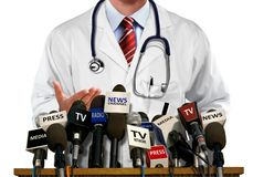 Doctor Press and Media Conference. Over white stock image