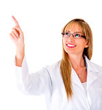 Doctor pressing a button on a screen Royalty Free Stock Images