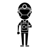 Doctor professional surgery mask hat clipboard pictogram Stock Images