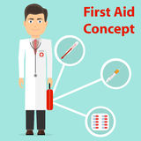 The doctor provides first aid. The doctor holds a suitcase with a thermometer, a syringe and tablets in his hand. Flat design,  illustration Stock Photo