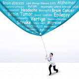 Doctor pulling a banner of brain diseases Stock Photos