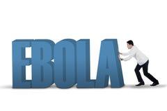 Doctor pushing an Ebola text Stock Photos