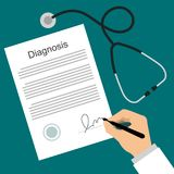 Doctor puts signature in the diagnosis list. Healthcare concept flat vector illustration. Doctor signing a diagnosis document. Doctor works at the table with Royalty Free Illustration