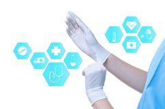 Doctor putting on rubber gloves and informational icons against white background. Medical service. Doctor putting on rubber gloves and informational icons vector illustration