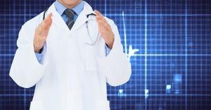 Doctor que gesticula contra fondo digital generado Fotografía de archivo libre de regalías