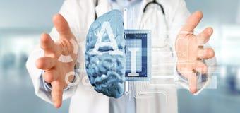 Doctor que lleva a cabo el icono de la inteligencia artificial con la media representación del circuito 3d del cerebro y de la mi imagenes de archivo