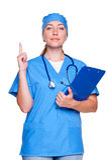 Doctor que muestra la muestra de la atención Imágenes de archivo libres de regalías