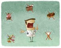 Doctor que prohíbe la comida dulce Imágenes de archivo libres de regalías