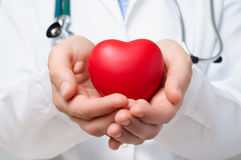 Doctor que protege un corazón Fotografía de archivo