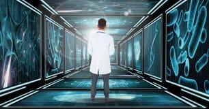 Doctor que se coloca de mirada abajo del pasillo 3D Foto de archivo