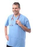 Doctor que sostiene un estetoscopio Imágenes de archivo libres de regalías