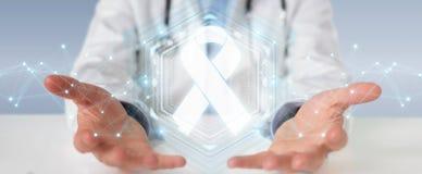 Doctor que usa la representación digital del interfaz 3D del cáncer de la cinta stock de ilustración