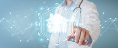 Doctor que usa la representación digital del interfaz 3D del cuidado de la familia stock de ilustración