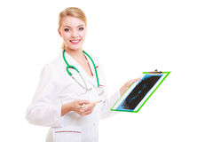 Doctor radiologist showing x-ray. Medical. Stock Photography
