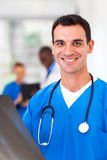 Doctor with x-ray. Cheerful medical doctor with x-ray Royalty Free Stock Images